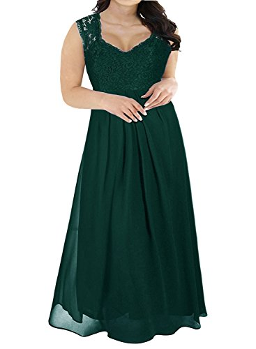 Nemidor Women's Deep- V Neck Sleeveless Vintage Plus Size Bridesmaid Formal Maxi Dress (24W, Green)