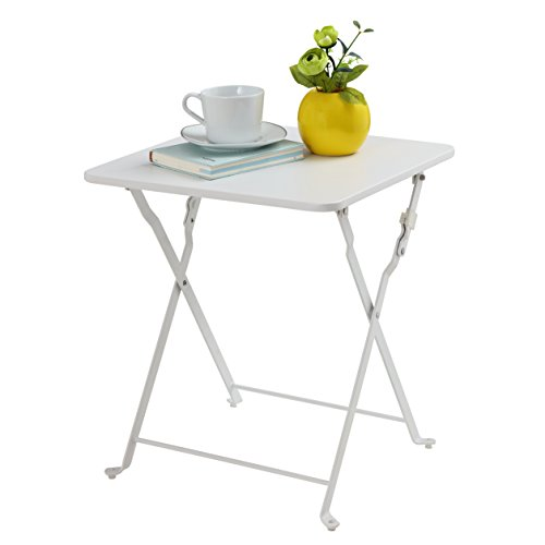 Finnhomy Small Square Folding Side End Table Sofa Table Tray Side Table Snack Table Metal Anti-Rusty Outdoor and Indoor Use for Little Stuff Multi-use White (Outdoor White Sofa)