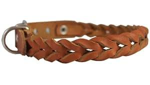"Tan Genuine Leather Braided Dog Collar Braided 1"" Wide, Fits 18""-21.5"" Neck, Medium"