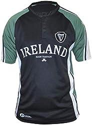 Croker Irish Rugby Shirt, Moisture Managment Fabric, Black and Green