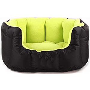 KOZI PET Reversible Dual Color Ultra Soft Ethnic Designer Bed for Dog & Cat (Export Quality), Green/Black, Small, 850 g