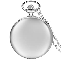 JewelryWe Vintage Quartz Pocket Watch Smooth Metal Classic Pendant Watch Free Personalized Photo/Text Engraving Men Women Mother Day Gift