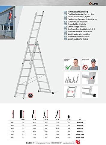Hymer 40047 ALPE - Escalera multiusos (3 escalones, 3 x 12 peldaños): Amazon.es: Bricolaje y herramientas