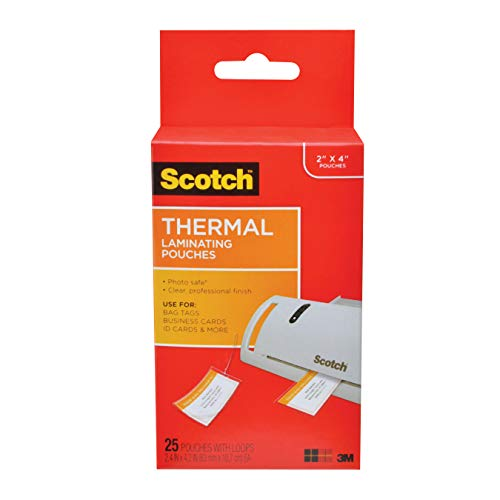 Scotch Thermal Laminating Pouches, 2.48 in x 4.21 in, Luggage Tag Size with Loop, 25 Pouches (TP5853-25) ()