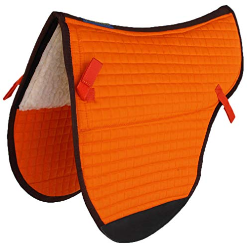 Professional Equine Horse Quilted English Saddle PAD Trail Treeless Endurance Tack Orange 72F59OR