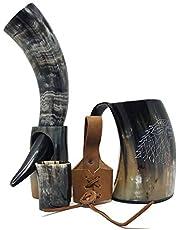 Bhartiya Handicrafts Viking Drinking Horn Set Kit | Tankard For beer mead wine ale | Direwolf Engraving Drinking Mug with Horn, Bottle Opener, Shot Glass, Belt Holster, 16 Oz (Style Six)
