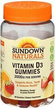 Sundown Naturals Vitamin D3 2000 IU per Serving Gummies - 90 ct, Pack of 3 (Sundown Gummy Vitamin)