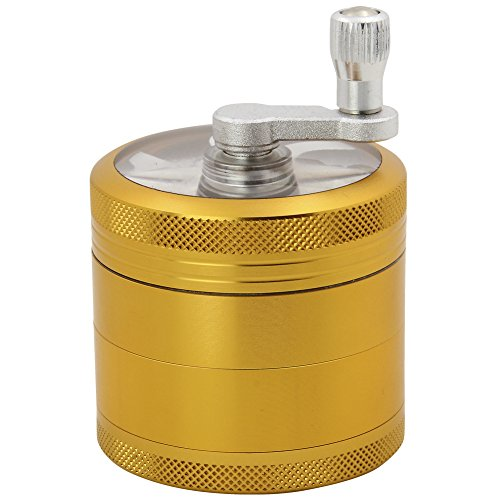 DCOU Hand Cranked Premium Grinder Unbreakable Aluminum Grinder for Herb Weed and Spice 4 Parts 2.2 Inch (Gold)