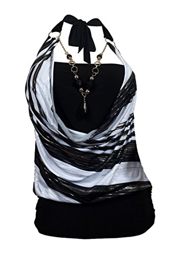 EVogues Plus size Black Glitter print Necklace accented O-ring strap top - 3X