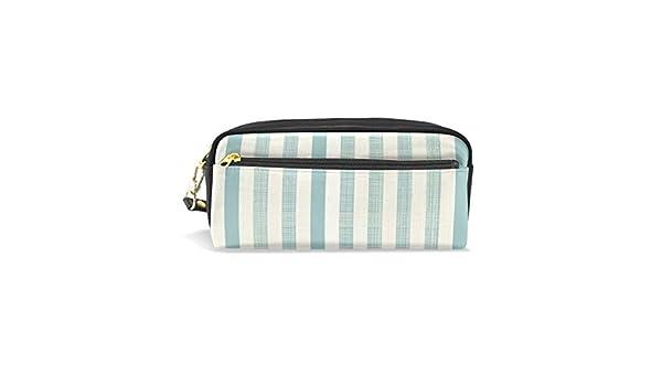 Estuche vertical de rayas azules, estuche para lápices, bolsa con cremallera para niñas, bolsa de maquillaje grande organizador con compartimentos: Amazon.es: Oficina y papelería