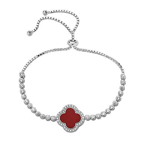l Lucky Clover Bracelet | 925 Sterling Silver Adjustable Clover Tennis Bracelet (Red - RUBY) ()