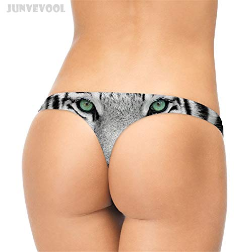 GZGJNK Mini Briefs Micro Panties Sexy Lingerie Women's Punk Tiger G-String Panty Thong T-Back Short 3D Tiger Fur Animal Print Knickers