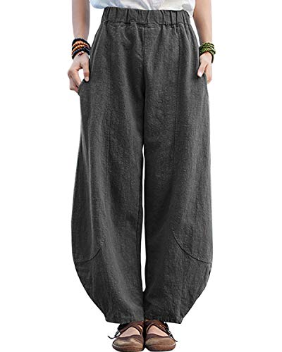 IXIMO Women's Casual Cotton Linen Baggy Pants with Elastic Waist Pleated Tapered Capri Trousers with Pockets (Style3_Gray, M)