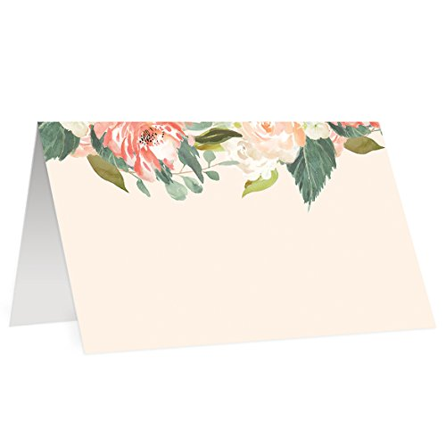 50 Elegant Place Cards Peach Floral Escort Card Set of Fifty Watercolor Wedding Placecard Blank Fill In Guest Name Handwritten Assigned Seating Formal Table Tent Tag Favor Labels 3.5 x 2