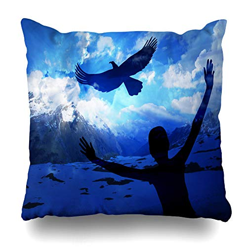 Ahawoso Throw Pillow Cover Cloud Blue Renew Eagle Soar Like Eaglepopular Graceful New Grace Fly Christian Wings Isaiah Design Home Decor Pillow Case Square Size 20x20 Inches Zippered Pillowcase