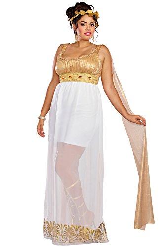 Dreamgirl Women's Athena Plus Size, White/Gold, 3X