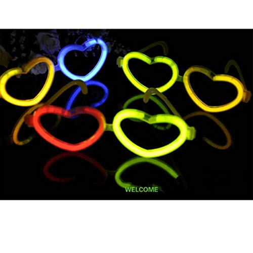 CPS 5 Pack Heart Glow Eyeglasses Glasses Sticks in Assorted Colors for Halloween Party