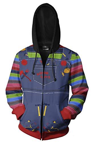 Adult Chucky Hoodies Jacket Costume Halloween Cosplay 3D Print Zip Up Pullover Casual Sweatshirt