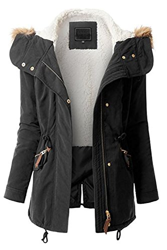 (FASHION BOOMY Womens Zip Up Military Anorak Jacket W/Hood (Small, LW-Black))