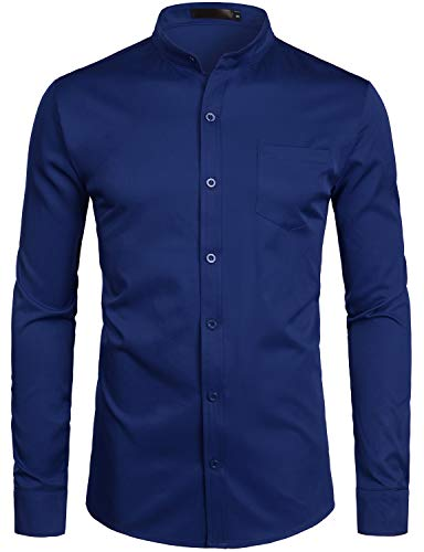 ZEROYAA Men's Banded Collar Slim Fit Long Sleeve Casual Button Down Dress Shirts with Pocket ZLCL09 Navy Large