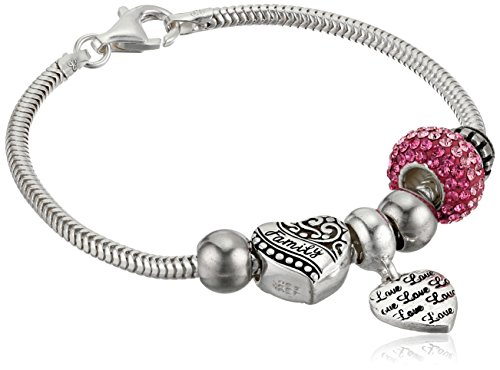 Family Crystal Bracelet - CHARMED BEADS Sterling Silver Pink Love and Family Bead Charm Bracelet, 7.5