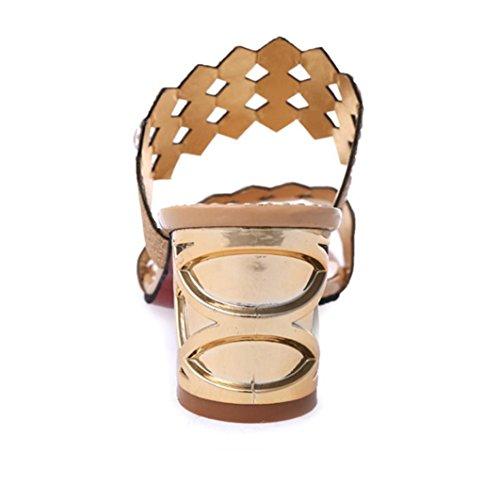 Deesee (tm) Nuovi Arrivi Donne Ragazze Pesce Bocca Grande Strass Tacco Alto Tacco Alto Sandali Delle Donne Scarpe Da Festa Oro