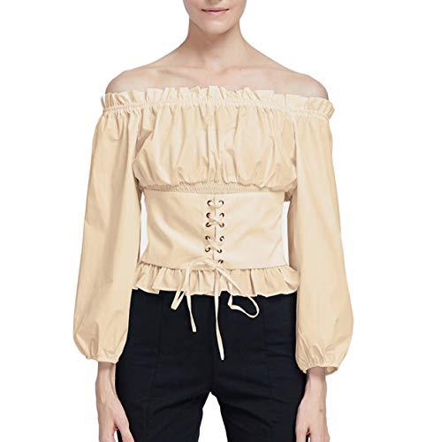 Women's Beige Renaissance Blouses Shirt Peasant Tops T