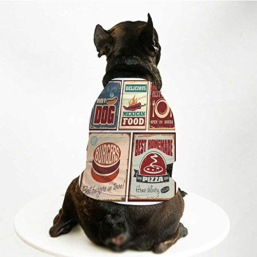 (YOLIYANA 1950s Decor Skin Friendly Pet Suit,Nostalgic Tin Signs and Retro Mexican Food Prints Aged Advirtising Logo Style Artistic Design for Pet Dogs,S)