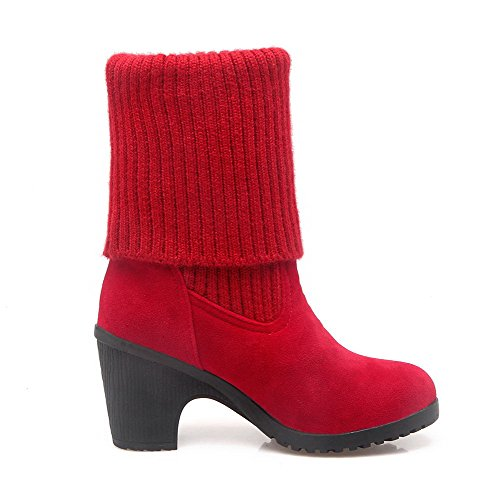High Solid Heels Imitated Boots Red Pull on top Allhqfashion Women's Suede Low qX40tt