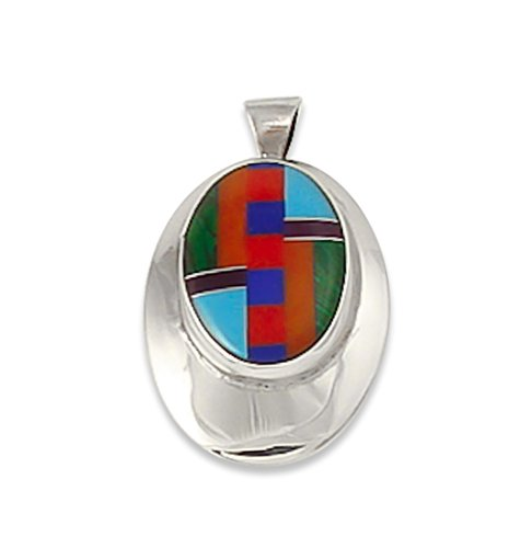 Navajo Silver Spiny Oyster Multi Inlay Women's Pendant