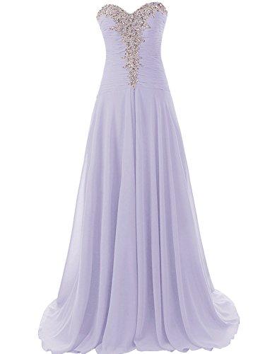 Pailletten Trägerlos Ballkleider Lang Festkleider A Damen Linie Chiffon mit Abendkleider Lavendel pfxzPwp