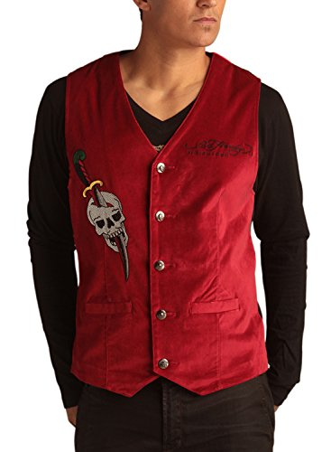 Ed Hardy Mens Cobra Embroidered Velvet Vest - Wine - XX-Large (Ed Hardy Wine compare prices)