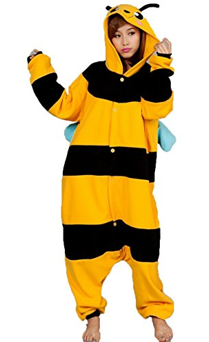 Man In Bee Costume (ABING Halloween Pajamas Homewear OnePiece Onesie Cosplay Costumes Kigurumi Animal Outfit Loungewear,Yellow Bee Adult L -for Height 167-175CM)