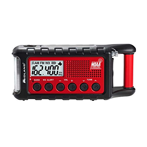 Midland – ER310, Emergency Crank Weather AM/FM Radio – Multiple Power Sources, SOS Emergency Flashlight, Ultrasonic Dog Whistle, NOAA Weather Scan + Alert (Red/Black)