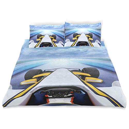 YCHY Decor Duvet Cover Set, Overhead Route Perspective from Open Cockpit Racing Car Driving at High Speed Illustration A Decorative 3 Pcs Bedding Set with Pillowcases, Twin/Twin XL