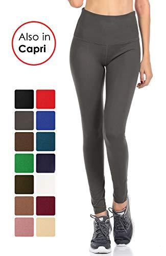 Pants Gray Dress Charcoal (VIV Collection Signature Leggings Yoga Waistband Soft w Hidden Pocket (L, Charcoal))