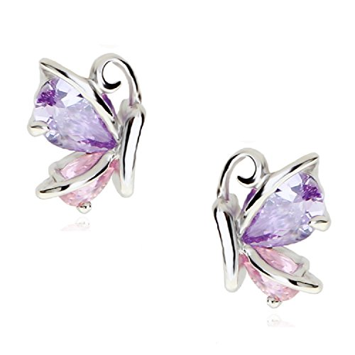 Girl Butterfly Crystal (Butterflies Stud Earrings with Pink Purple Violet Zirconia Crystals 18 ct White Gold Plated for Women and Girls)
