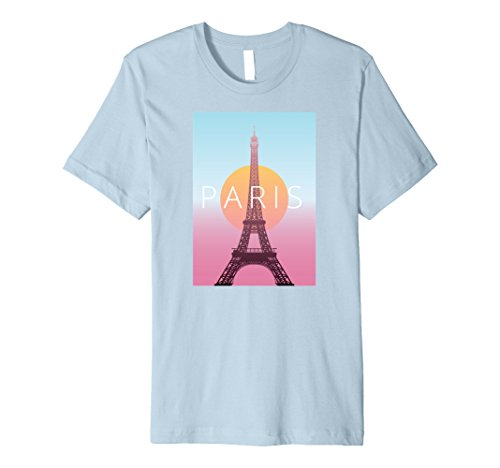 Mens Paris France Travel Poster T-Shirt XL Baby Blue