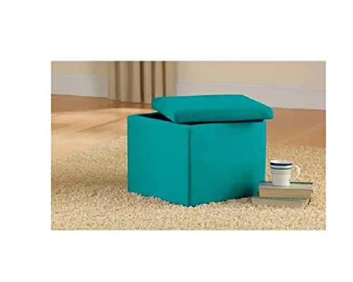 Faux Suede Ultra Storage Ottoman, Multiple Colors, Teal Perfect As An Extra Seat or Storage, Great for Small Space Areas!