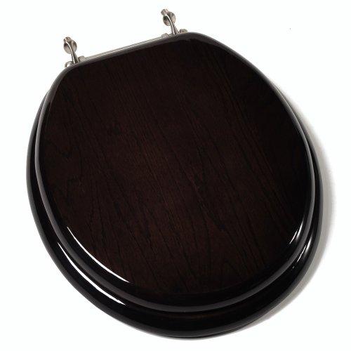 (Comfort Seats C1B1R-18BN Designer Solid Wood Toilet Seat with PVD Brushed Nickel Hinges, Round, Dark Brown)