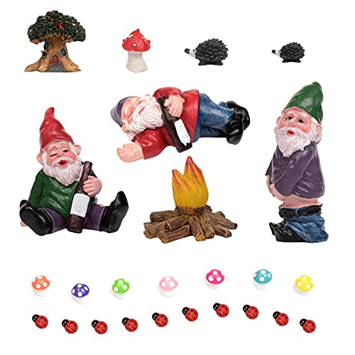 Miniature Garden Gnomes Set Fairy Garden Figurines Accessories Camping Gnomes Kit Fairy Resin Statues for Outdoor or…