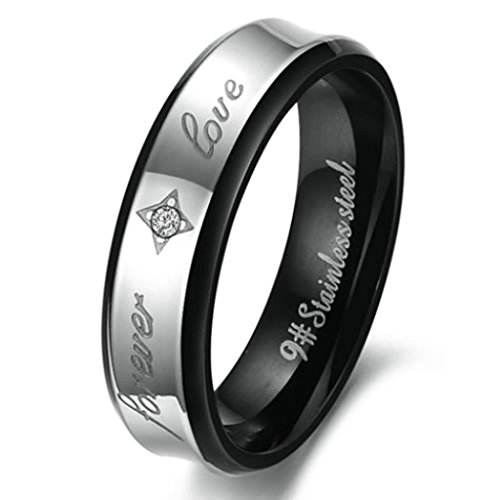 MoAndy 6MM Women's Stainless Steel Silver Wedding CZ Rings