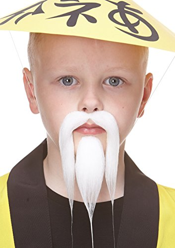 Small Shaolin white fake beard and mustache, self (White Costumes Mustache And Beard)