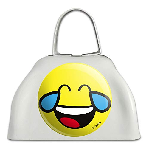 Smiley Smile Happy Crying Laughing Funny Hysterical Teeth Tongue Yellow Face White Metal Cowbell Cow Bell Instrument -