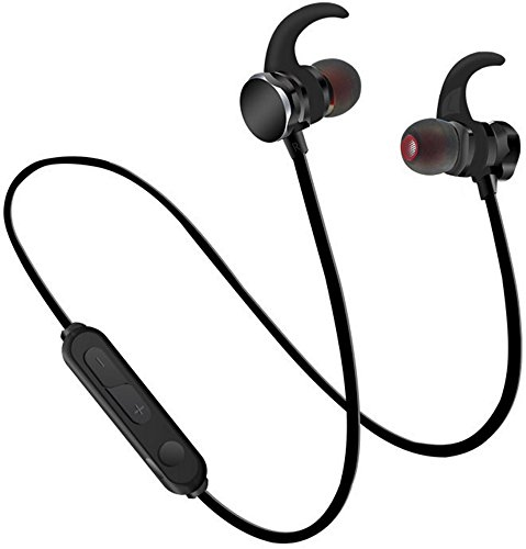 Teetox Bluetooth Earphones, Wireless Earbuds for Sports Workout in-Ear Sweatproof Headphones with Mic, Magnetic Design 6 Hours Playtime (Black)