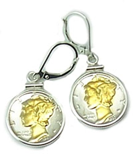 (Mercury Dime Sterling Silver Coin Bezel Coin Earrings With Highlighted 24k Gold Mercury Dimes)