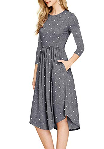 Pleated 4 with Dress Casual Women Gray Sleeve Pockets Tunic ZZER Vintage Dress 3 Swing Midi UzqxE