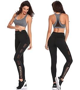 TELALEO Yoga Pants for Women, High Waisted Power Mesh Workout Running Exercise Leggings Pants Black