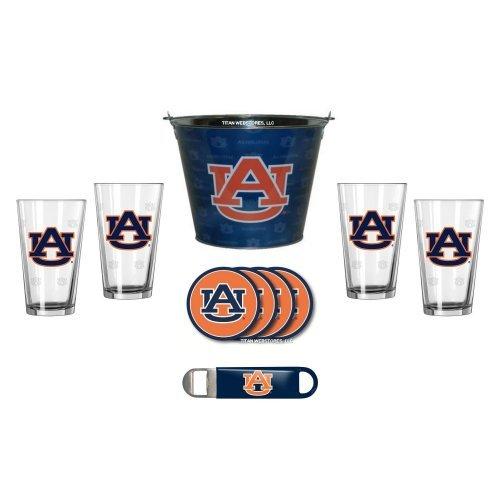 NCAA Auburn - Tonal Ice Pail, Pint Glasses (4), Coasters (4) & Bottle Opener Set | Auburn Tigers Beer Bucket Gift Set