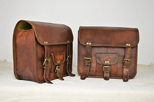 Handmade Bag Wala Saddle Bags Motorcycle Two Side Pouch Brown Leather Pouch Saddle Panniers (2 Bags) by Handmade Bag Wala (Image #3)